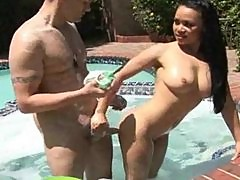 Mya Luanna gives erotic soapy massage