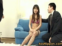 Minami in fishnet stockings