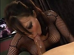 Sexy ass asian brunette in heels does deep throat