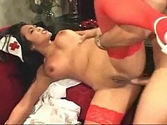 Slutty Asian nurse with black hair boned