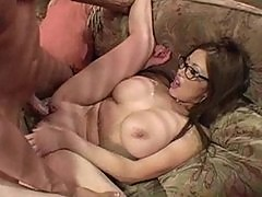 Naturally busty Kianna fucked with glasses on!