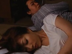 Unsatisfied Japanese Babe Masturbating Next To Her Sleeping Husband