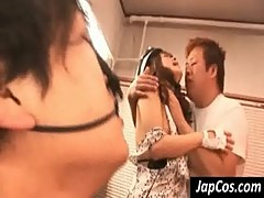 Hot asian slut gets hairy cunt fingered by thee dudes