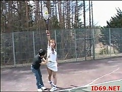 Japanese girl plays tennis