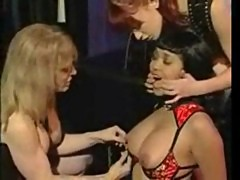 Ebony slave girl to two submissive mistresses