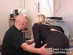 Amateur blonde banged in his home office