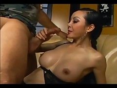 Skinny long haired asian fucking in black lingerie