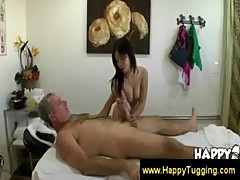 Old man enjoying a 69 with his masseuse