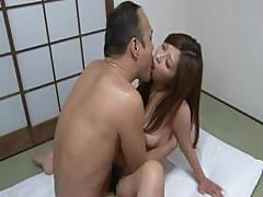 Hottie Japanese Bimbo Gets A Horny Old Man To Cum On Her Bushy Cunt