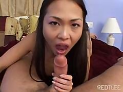 Little Asian Girl Takes His Cock Deep Down Her Throat For A Cumshot