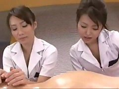 Two nurses doing a great handjob, rimjob during his examination