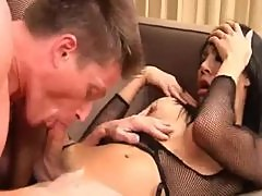 Ladyboy in black lingerie gives him her ass