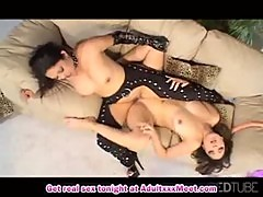 Two Asian lesbians get it on