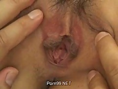 Japanese hairy pussy swallows dude prick