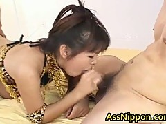 Asian tart with a hairy pussy stuffing