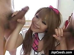 Two Erect Penises Get Sucked Off By A Japanese Naughty Schoolgirl