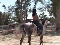 Topless Asian Tart Riding A Horse