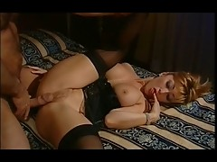 Sexy Asian Wife In Satin Basque & Stockings Banged