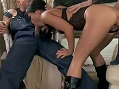 Asa Akira cleaning the two head of hunk carpenter
